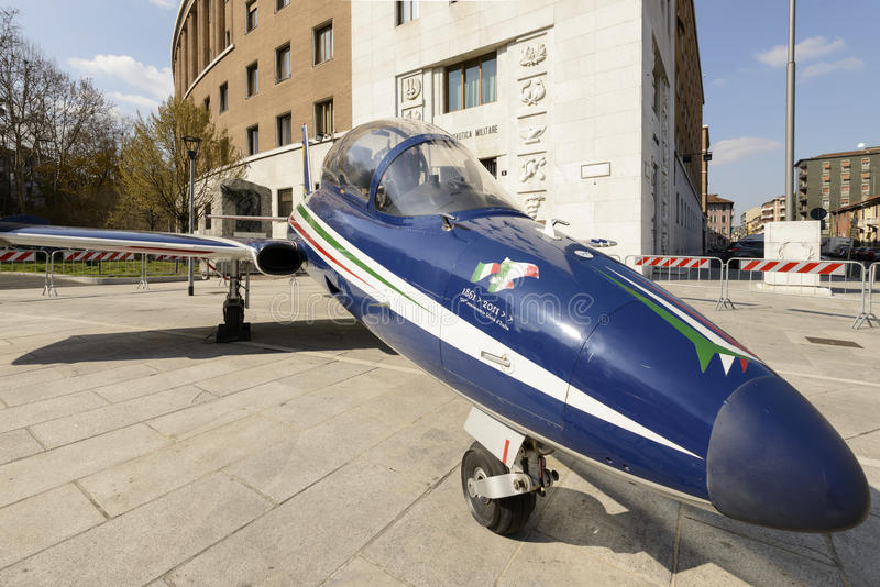 Close view of jet fighter in city center, Milan, Italy stock photography