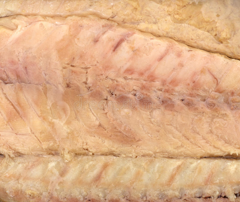 Close view of mackerel skinless fillets. A very close view of skinless mackerel fillets stock images
