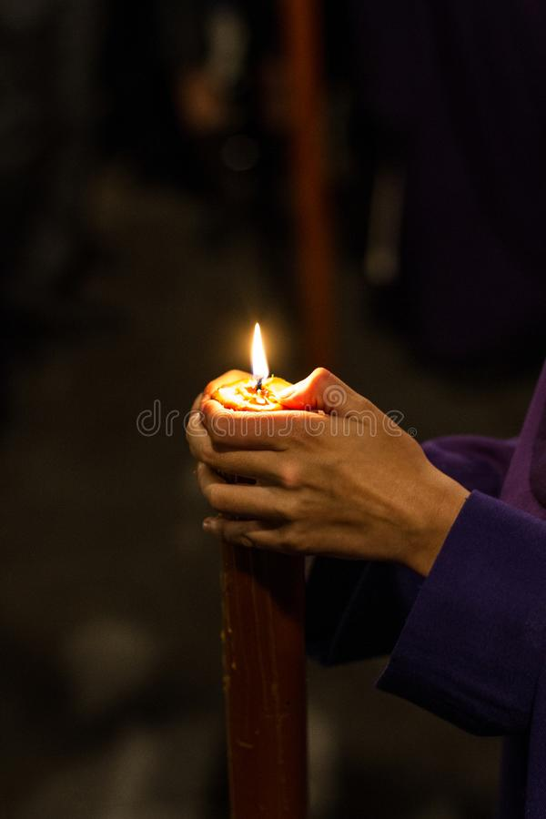 Nazareno candle in Seville holy week stock photo