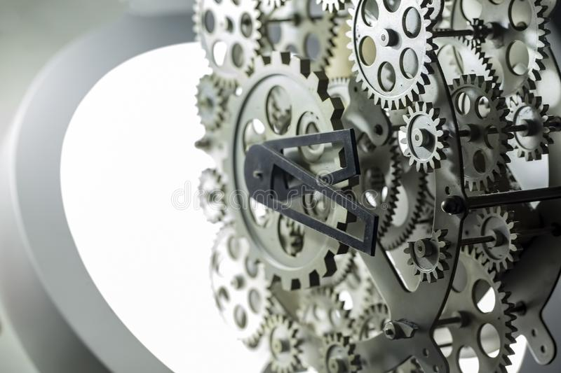 Close view of old clock mechanism with gears and cogs. Conceptual photo for your successful business design. stock illustration