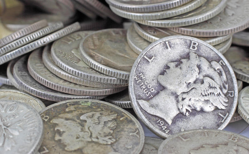 Close View Of Old Silver Bullion Royalty Free Stock Images