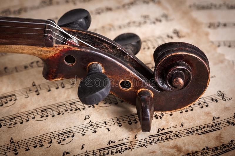 Close view of old violin scroll royalty free stock photography