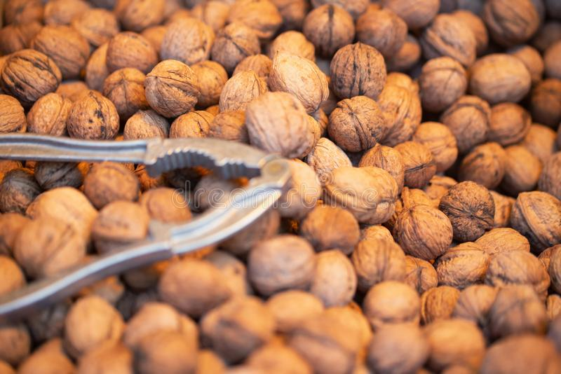Stack of shelled walnuts and nutcracker for baclground picture stock photos
