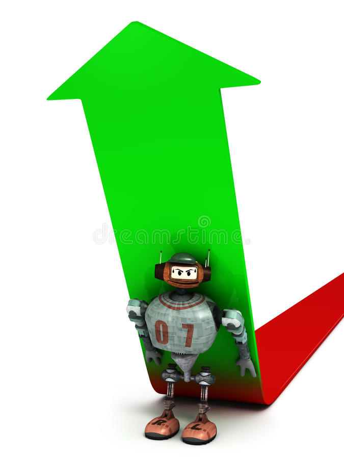 Download Close View On A Robot Forcing An Arrow To Go Up Stock Illustration - Image: 22443837