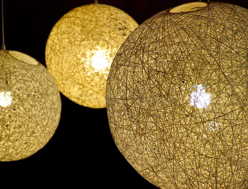 The close view of round lampshade stock photography
