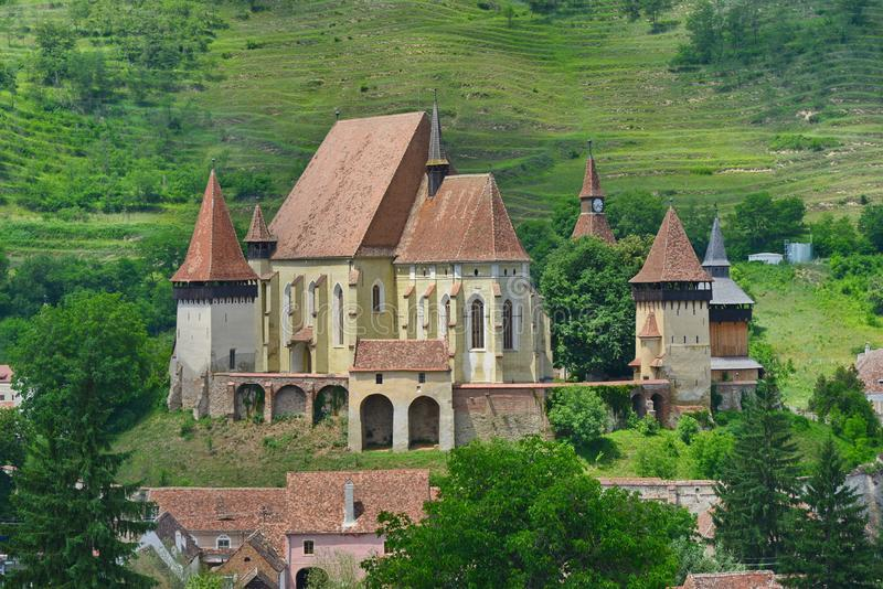 Close view of the saxon fortified church from Biertan, Romania royalty free stock photography