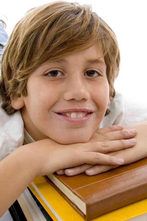 Download Close View Of Smiling Child With Books Stock Photo - Image: 7417088