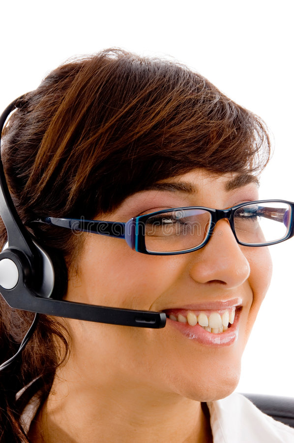 Close view of smiling female customer care royalty free stock images