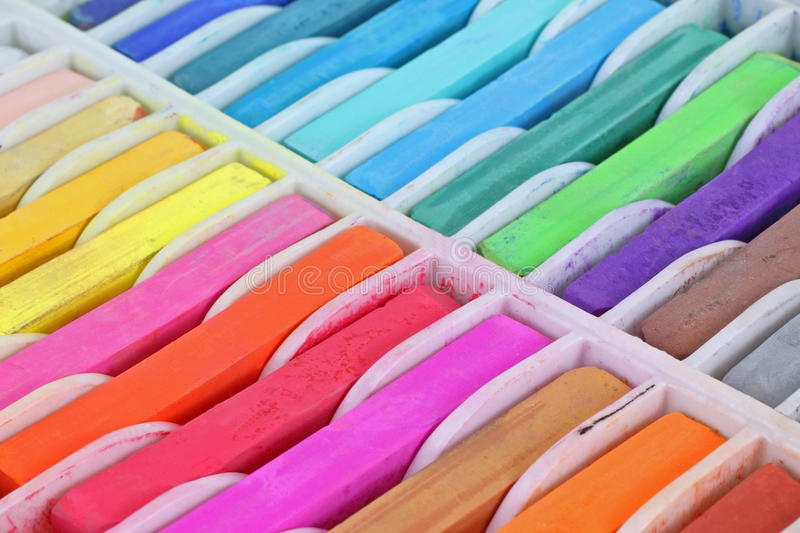 Close View Square Pastels. A close view of the vibrant colors of soft pastels royalty free stock photo