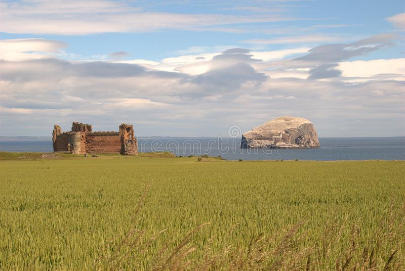Close view of Tantallon castle and Bass Rock, Scotland royalty free stock image