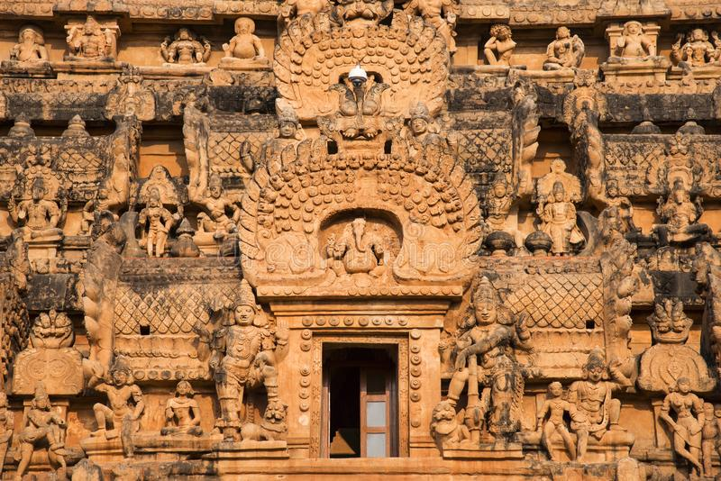 Close view of the Vimana sculptures, Brihadishvara Temple, Thanjavur, Tamil Nadu. India royalty free stock image