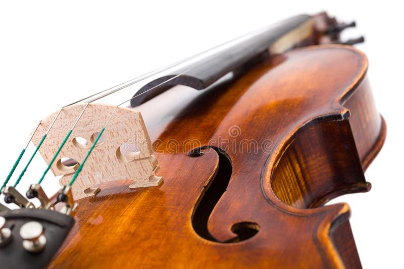 Close view of a violin strings and bout royalty free stock photos