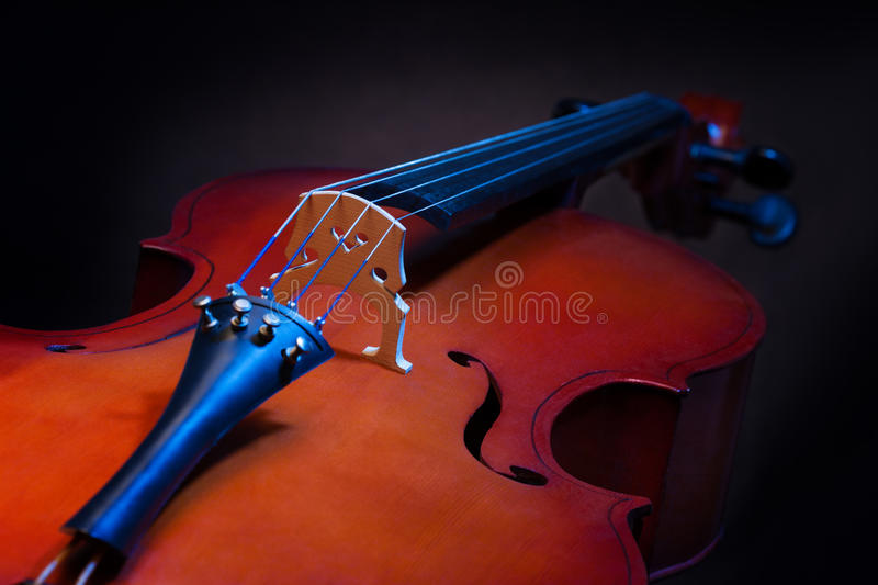 Close view of violoncello in vertical position. On the black background stock photography