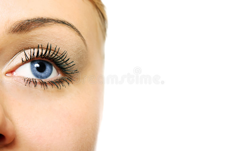 Close view of woman eye stock photography