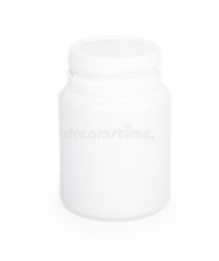 Close white plastic medical container for pills royalty free stock images