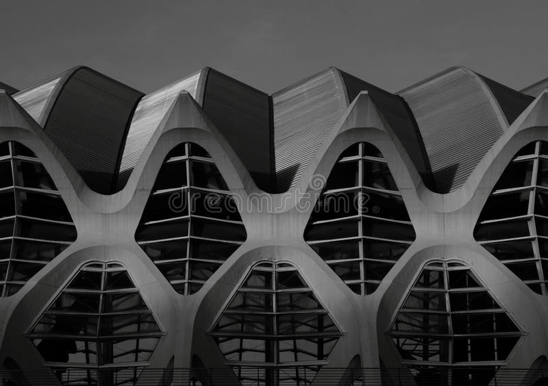 Close windows. Shot in black and white, detail on a modern building placed at the Ciutat de les arts, set in Valencia, España, Spain, Europa, Europe stock photo