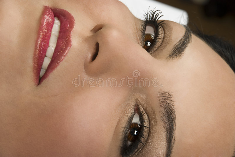 Close Of Woman Face Smile And Eyes Stock Images