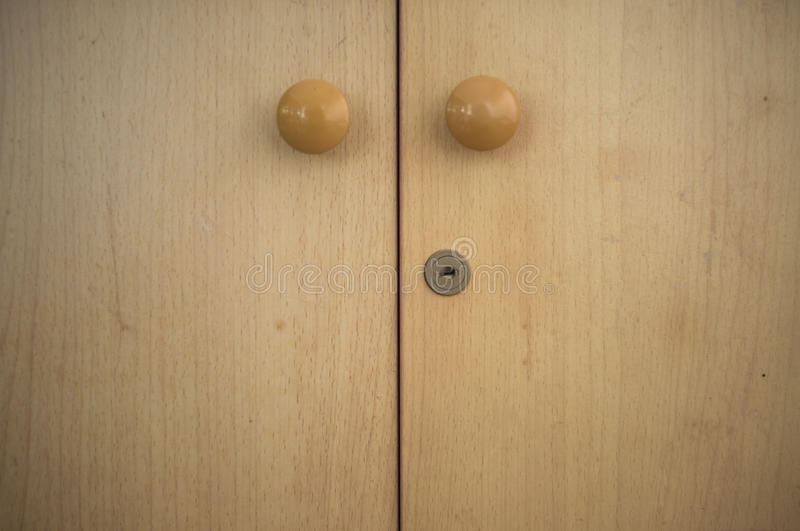 Close wooden locker stock photo