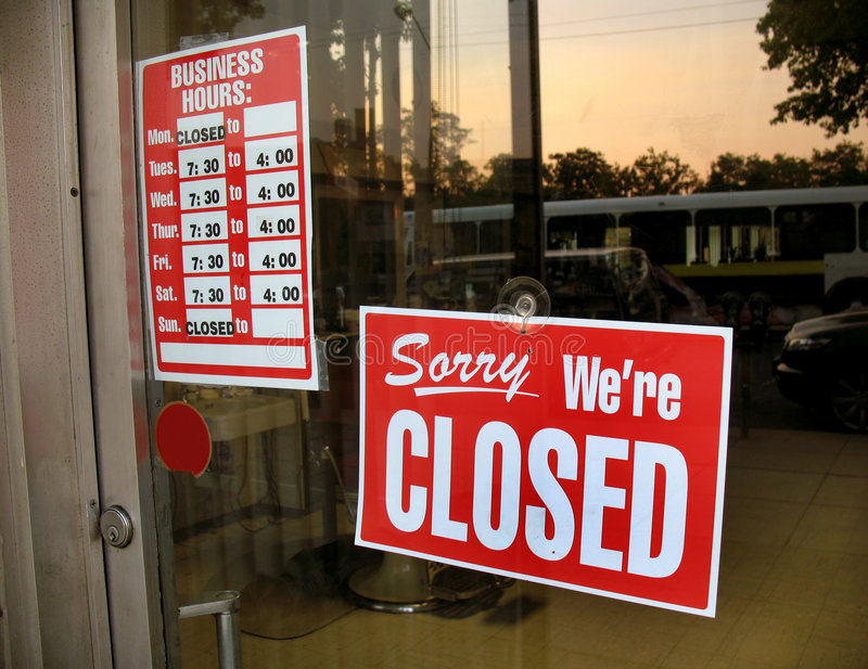 Closed Barbershop. Photo of closed sign for a barbershop stock photos