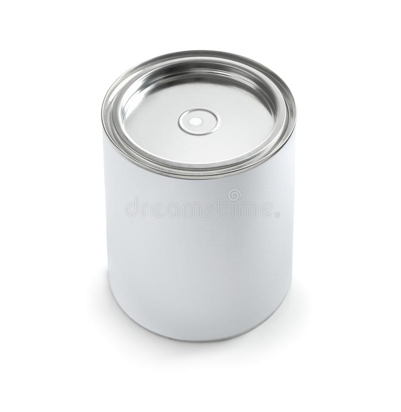 Closed blank can of paint isolated. On white stock photo