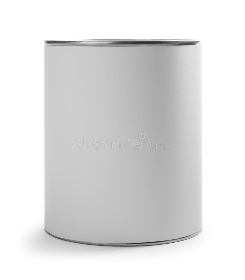 Closed blank can of paint on white. Closed blank can of paint isolated on white royalty free stock photos