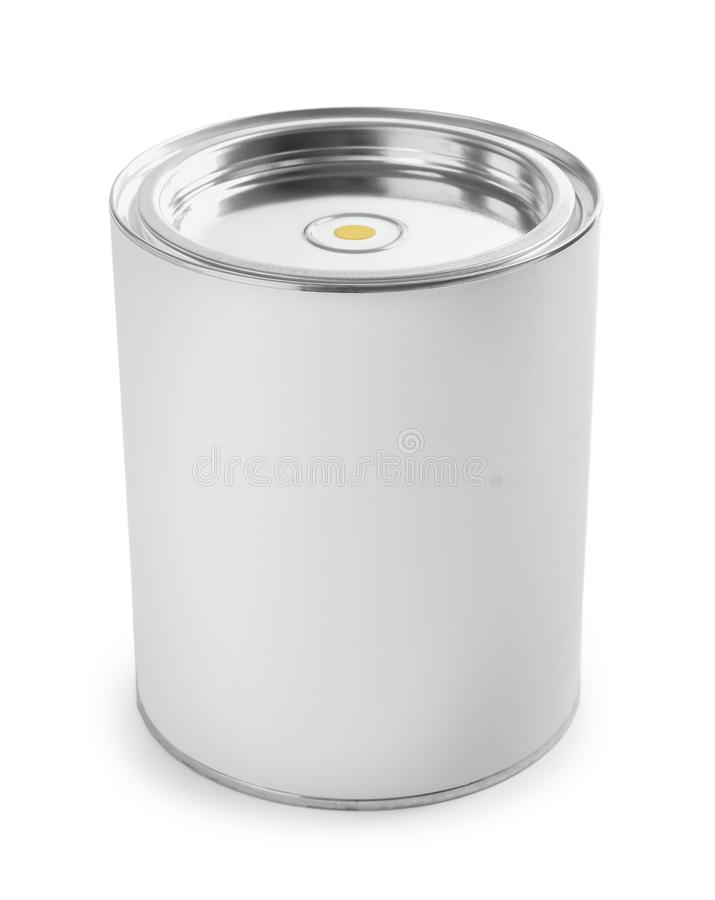 Closed blank can of paint isolated. On white stock photos