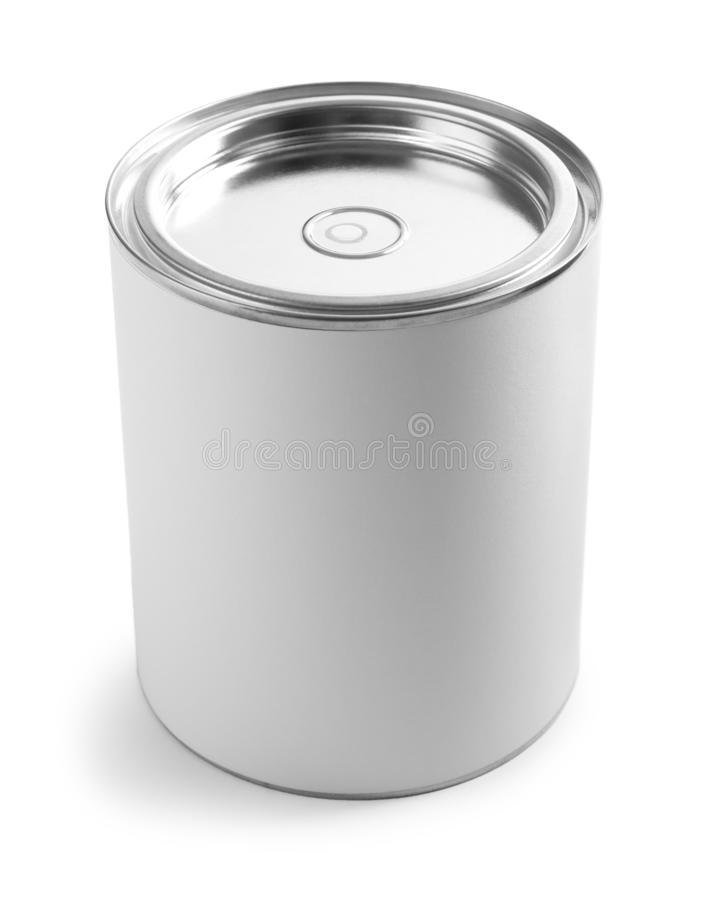 Closed blank can of paint on white. Closed blank can of paint isolated on white royalty free stock image