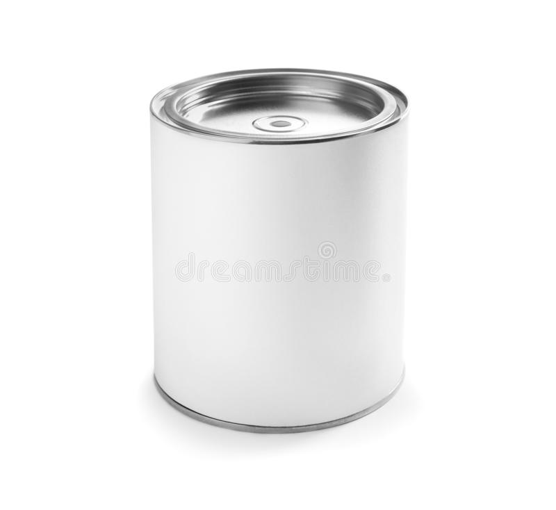 Closed blank can of paint isolated. On white royalty free stock images