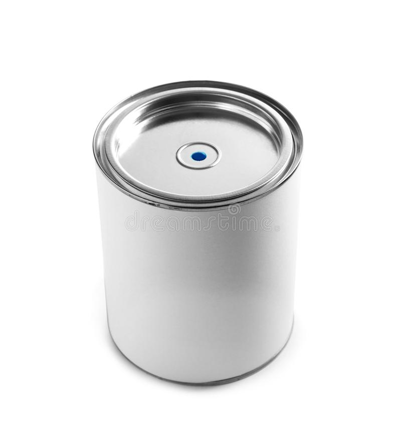 Closed blank can of paint on white. Closed blank can of paint isolated on white stock photos