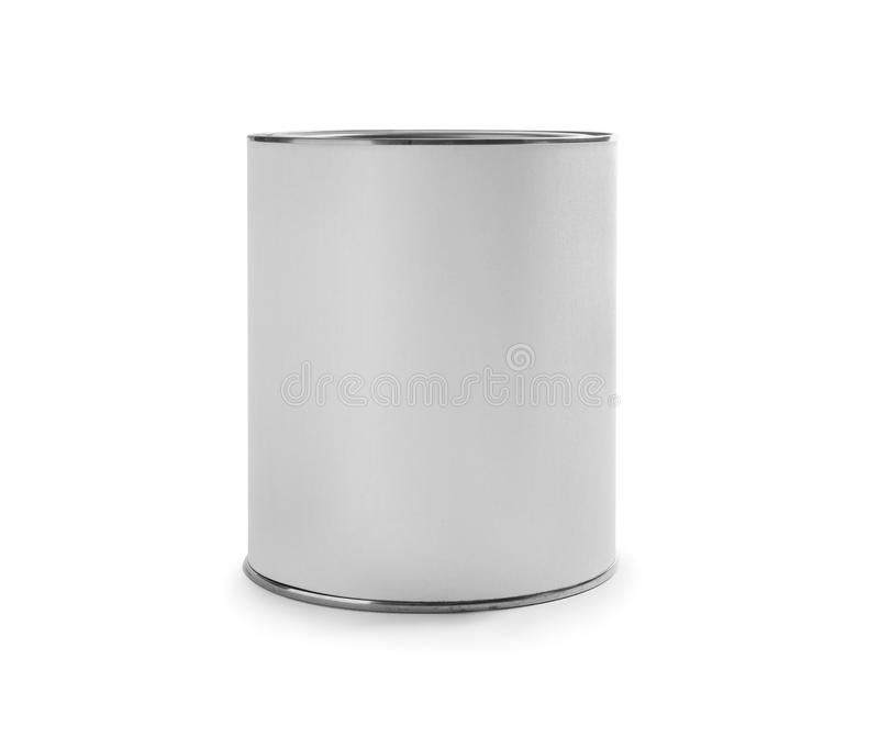 Closed blank can of paint on white. Closed blank can of paint isolated on white stock photo