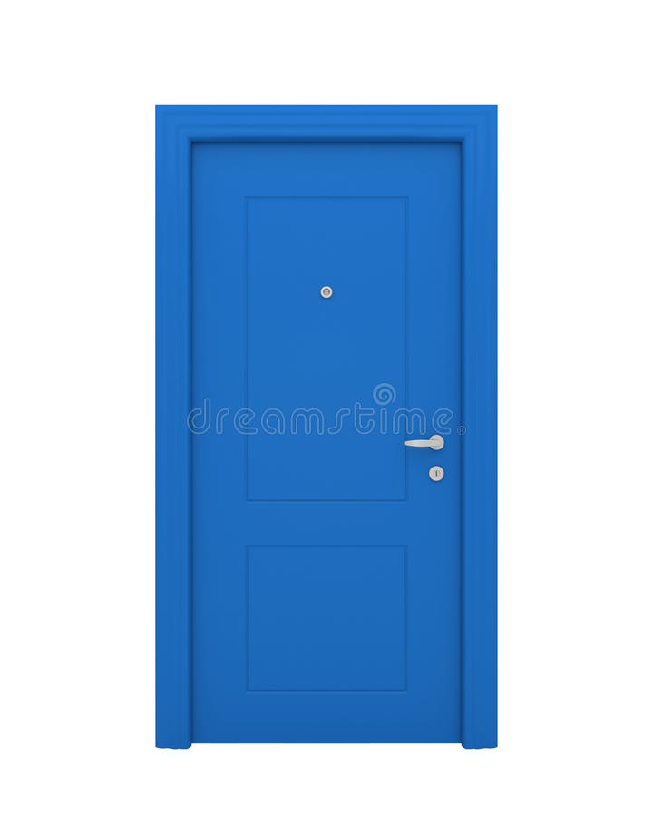 The closed blue door stock illustration