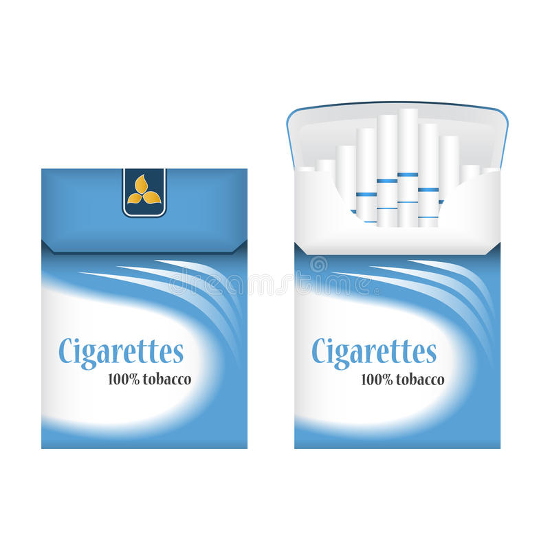 Closed blue pack of cigarettes. Open pack of cigarettes. Cigarettes pack icon. Cigarettes pack illustration stock photography