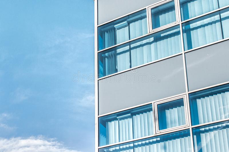 Closed blue window blinds. stock photography