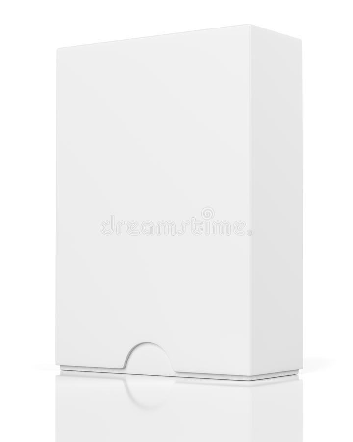 Closed box with slide cover isolated on white. Blank closed box with slide cover isolated on white background stock illustration