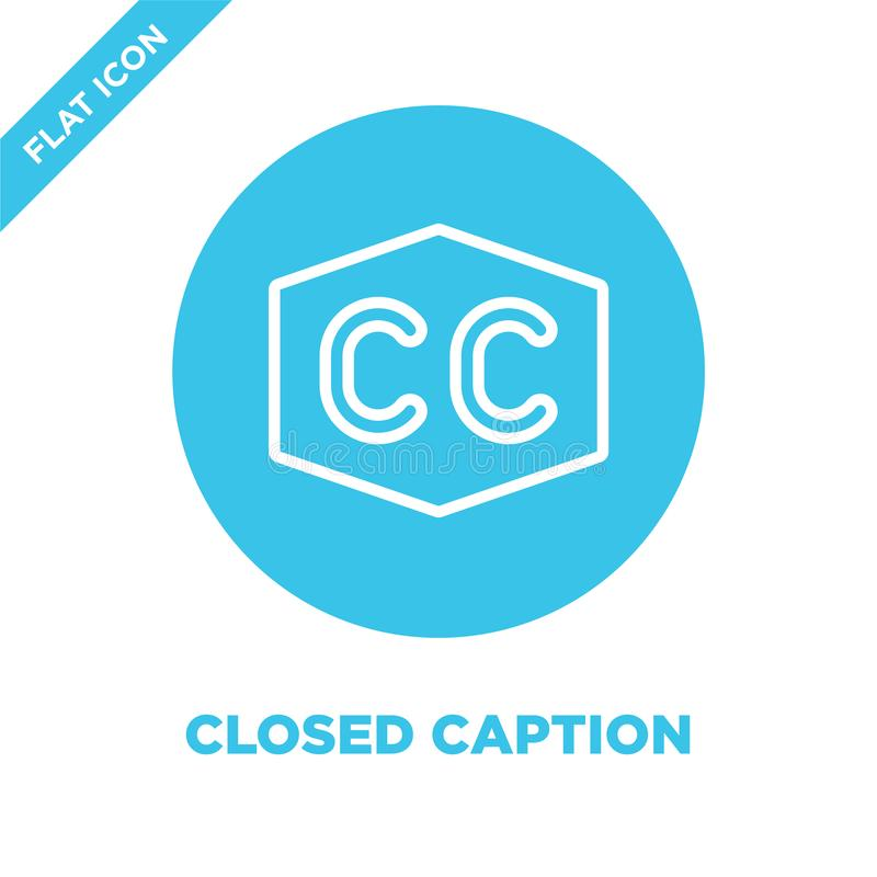 closed caption icon vector from accessibility collection. Thin line closed caption outline icon vector  illustration. Linear vector illustration