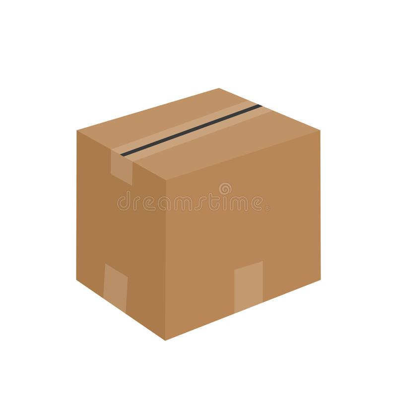 Closed cardboard box icon flat design. Isolated on white background vector illustration