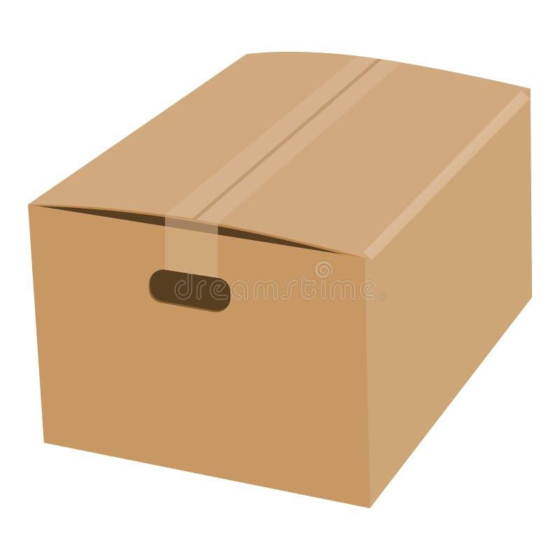 Closed cardboard box taped up mockup vector illustration