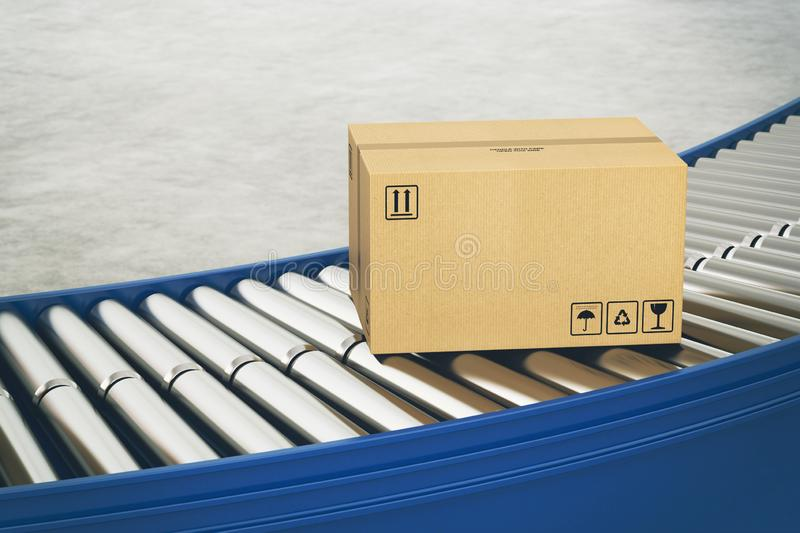 Cardboard boxes on conveyor rollers ready to be shipped by courier for distribution. Closed cardboard boxes and wrapped with adhesive on conveyor roller royalty free stock image