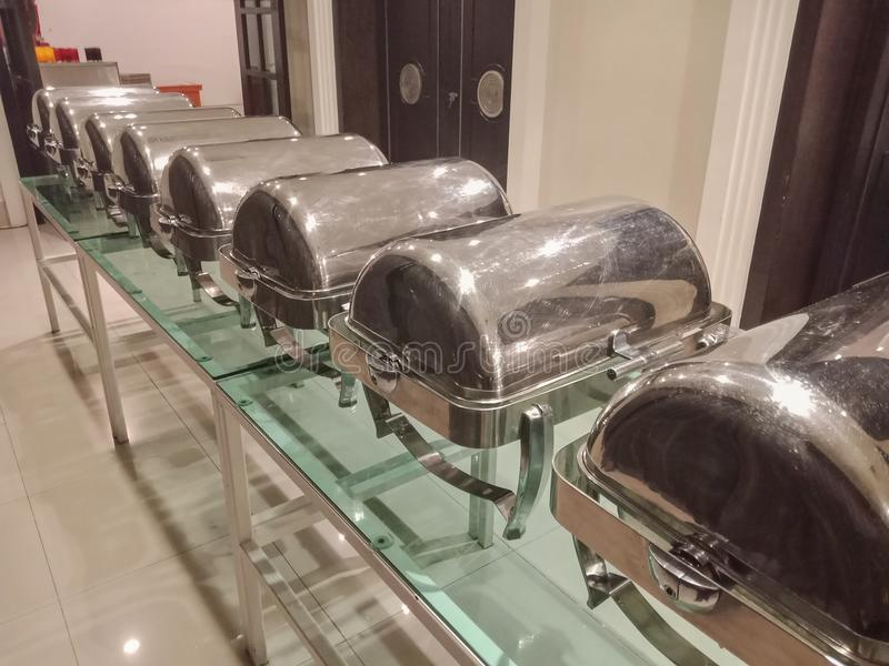 Closed Chafing dish for buffet party in hotel. Closed Chafing dish for buffet party in modern hotel stock image