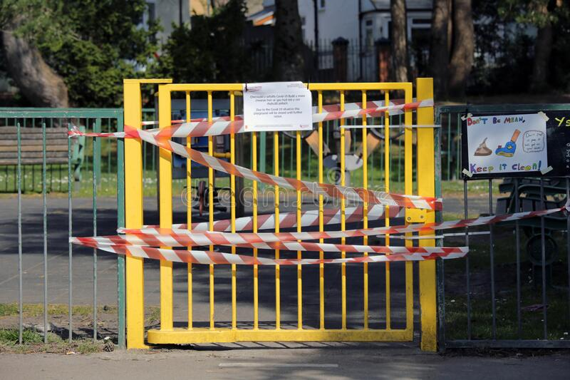 Closed children`s play area due to Coronavirus stock photography