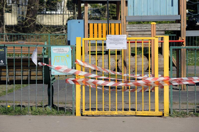 Closed children`s play area due to Coronavirus royalty free stock photo