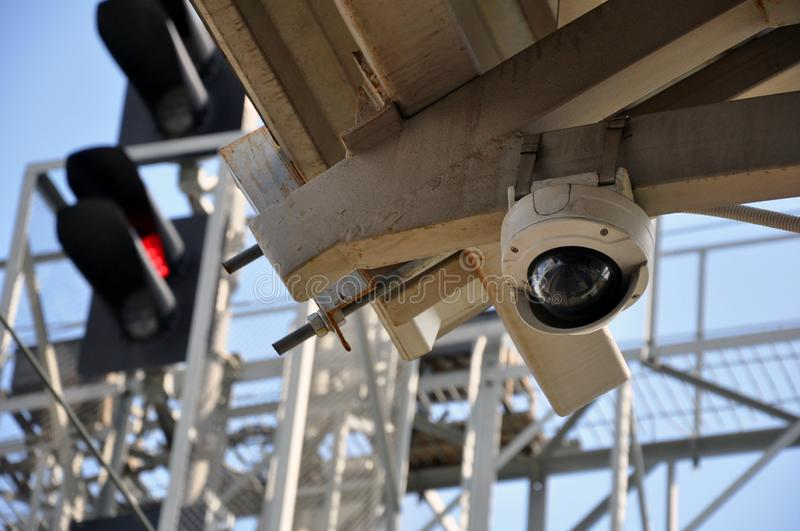 Closed circuit camera Multi-angle CCTV system. on the background of railway traffic lights. Security royalty free stock images