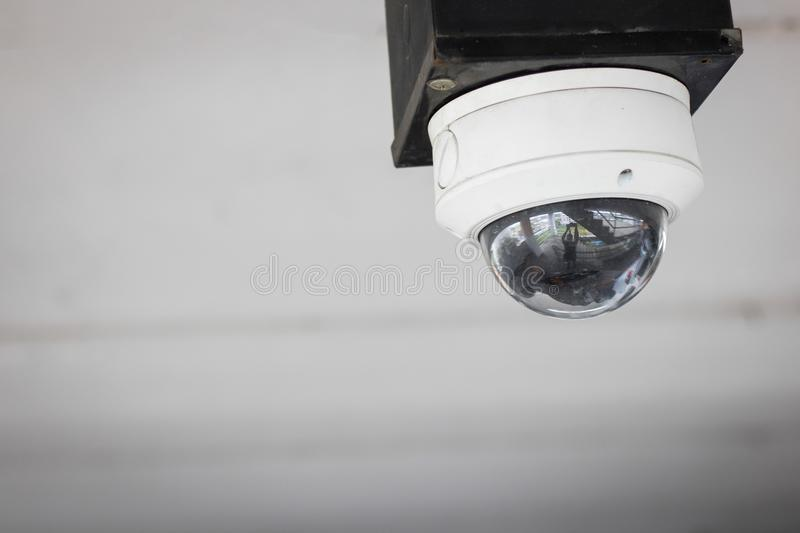 Closed-circuit television,Security CCTV camera or surveillance s. Ystem on ceiling for protect and check dangerous event royalty free stock photo