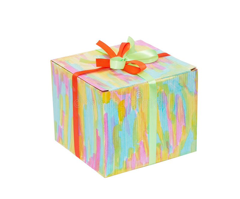 Closed Color Gift Box Royalty Free Stock Images