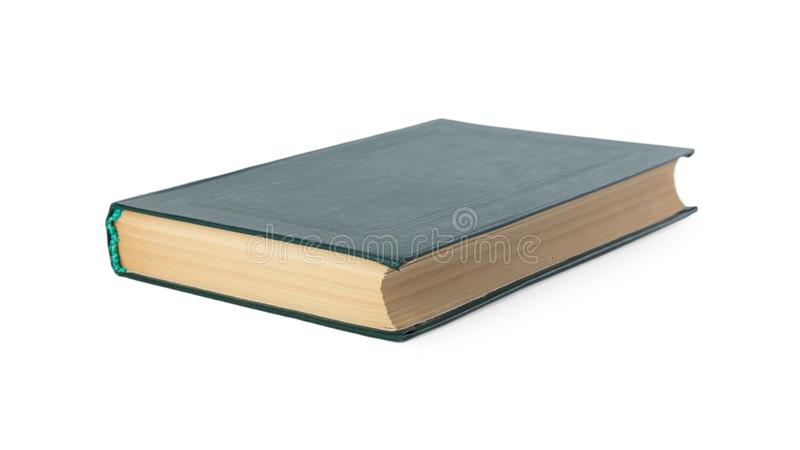 Closed color hardcover book on white. Background stock images