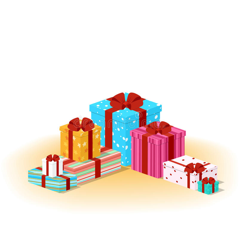 Closed colored boxes with gifts stock illustration