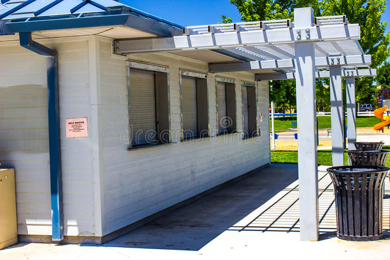 Closed Concession Stand. At Local Park stock photography