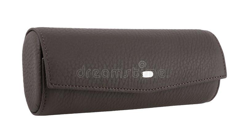 Closed dark brown leather eyeglasses case stock image