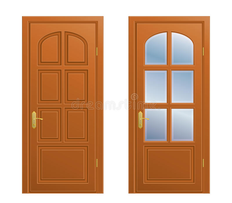 Closed door. Vector closed doors on white background royalty free illustration