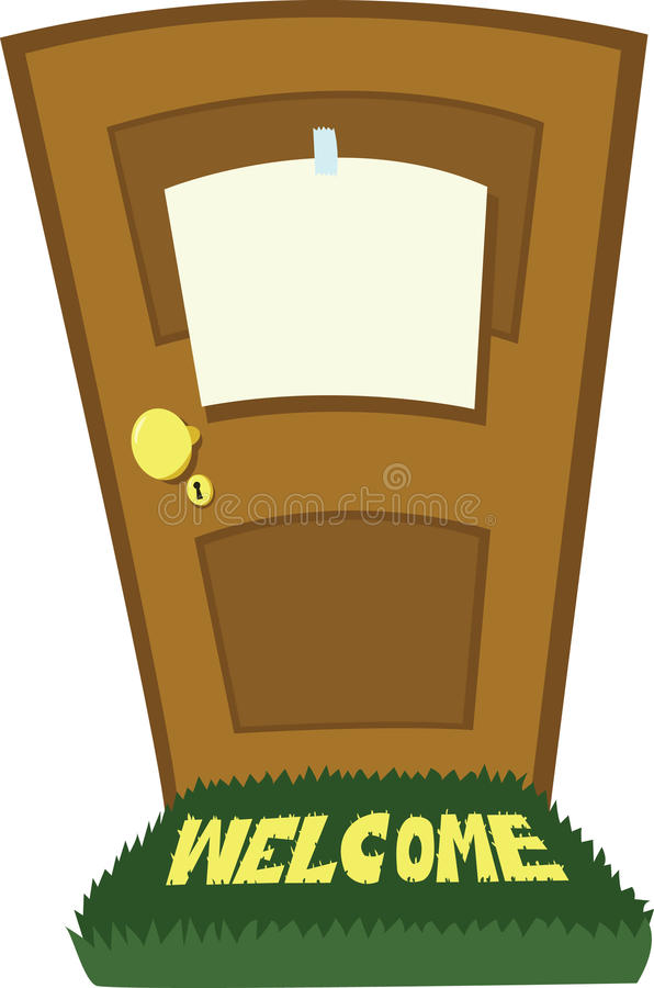 Closed door with blank sign stock illustration